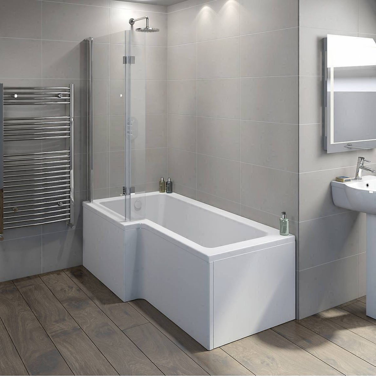 Mode luxury 8mm hinged L shaped shower bath screen | VictoriaPlum.com