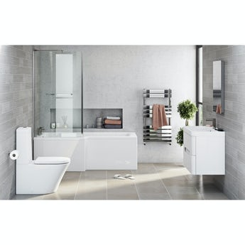 Mode Arte left hand shower bath 1700 x 850 suite with Eden white wall hung unit 800mm