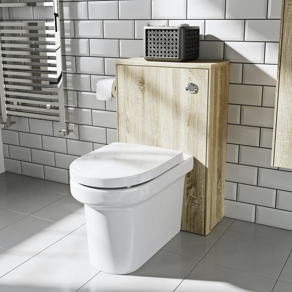 Mode Austin oak back to wall toilet unit