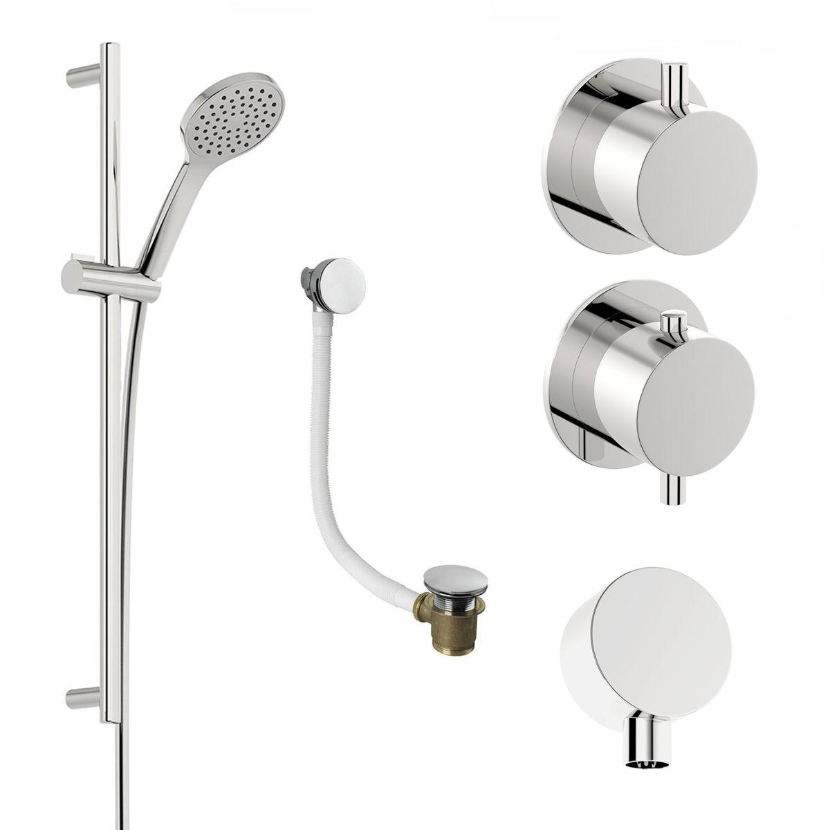 Mode Hardy thermostatic shower valve and slider rail shower bath set