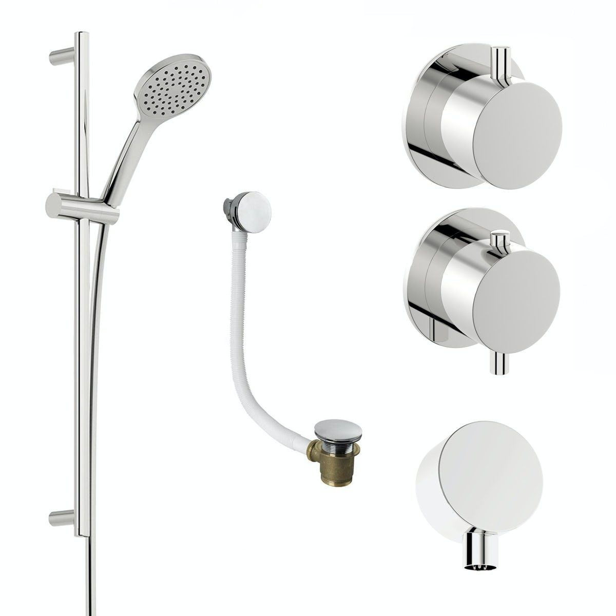 Mode Hardy thermostatic shower valve and slider rail shower bath set