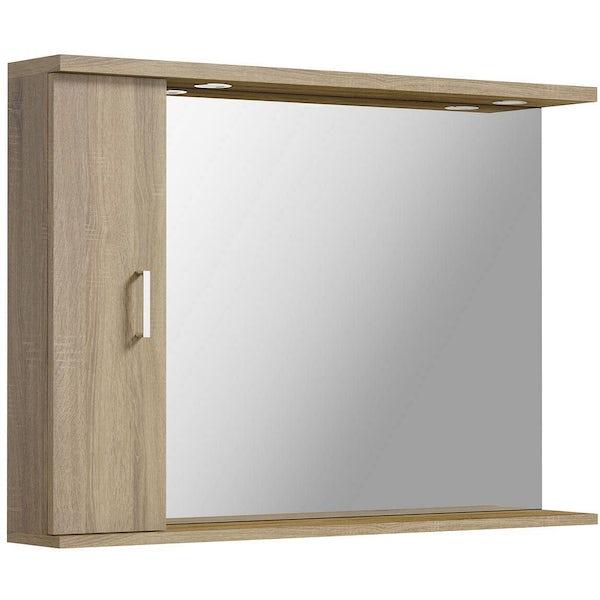 Sienna Oak 105 Mirror with lights