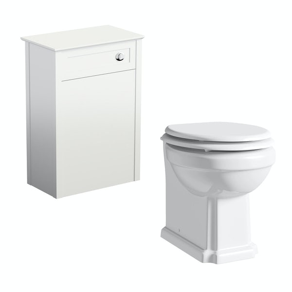The Bath Co. Camberley white back to wall toilet unit and traditional toilet with white wooden seat
