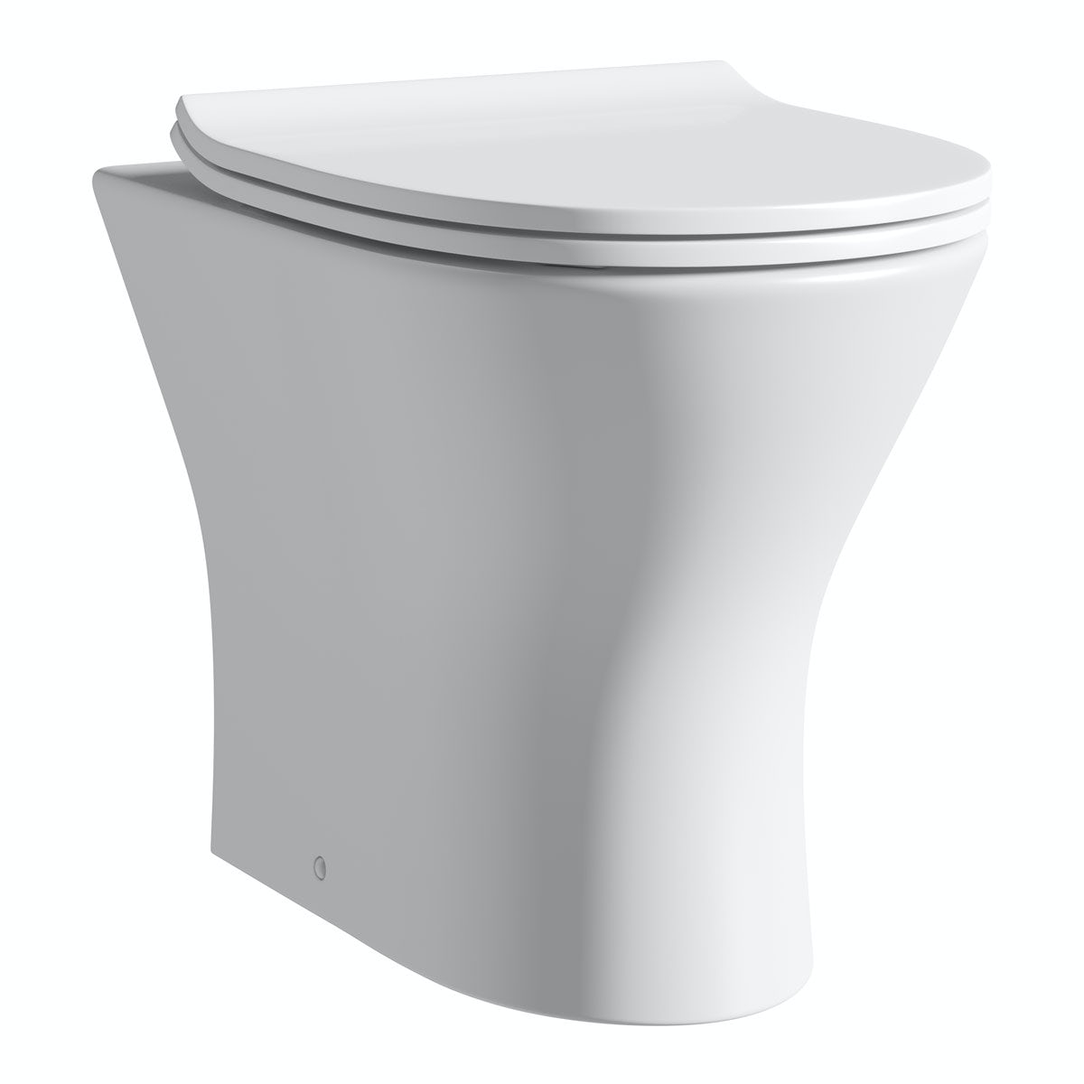 Compact Round  back to wall toilet including soft close slim seat