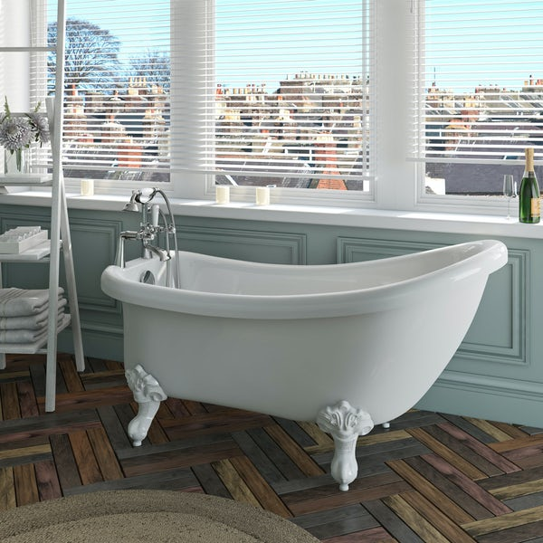 The Bath Co. Winchester roll top bath with white ball and claw feet