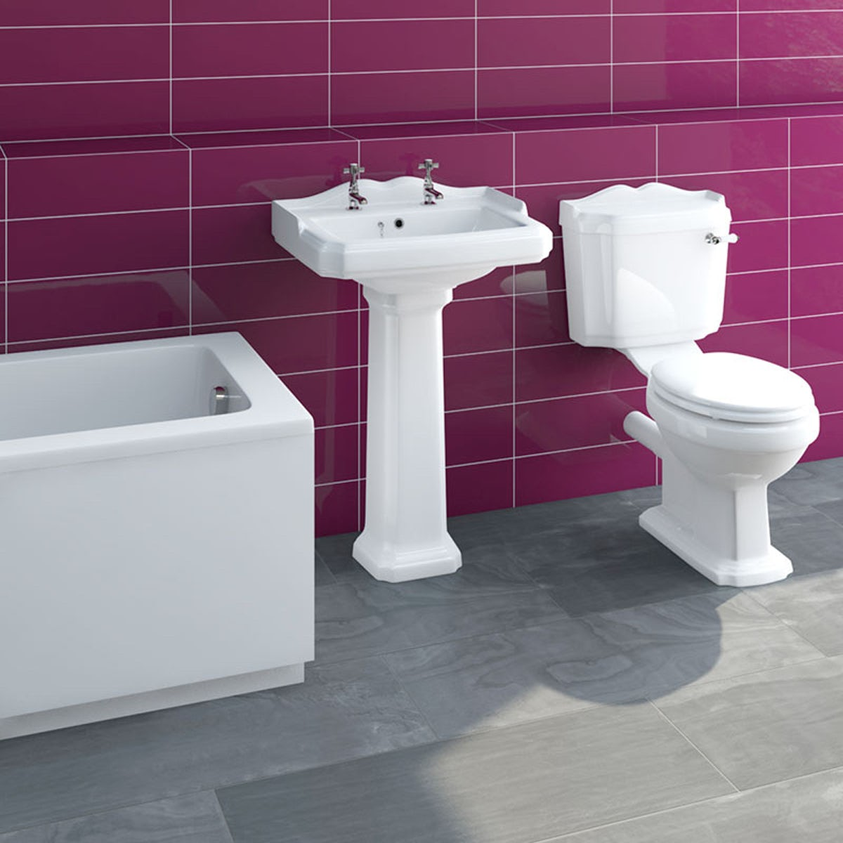 Winchester Master Suite: Winchester Bathroom Set With Straight Bath 1700x700