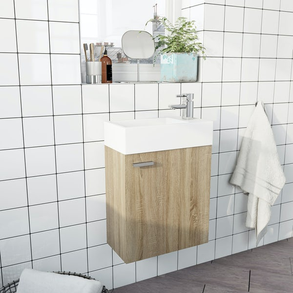 Clarity Compact oak wall hung cloakroom unit with basin 410mm