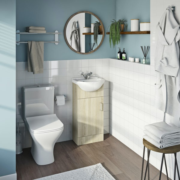 Eden oak cloakroom unit with Compact square close coupled toilet