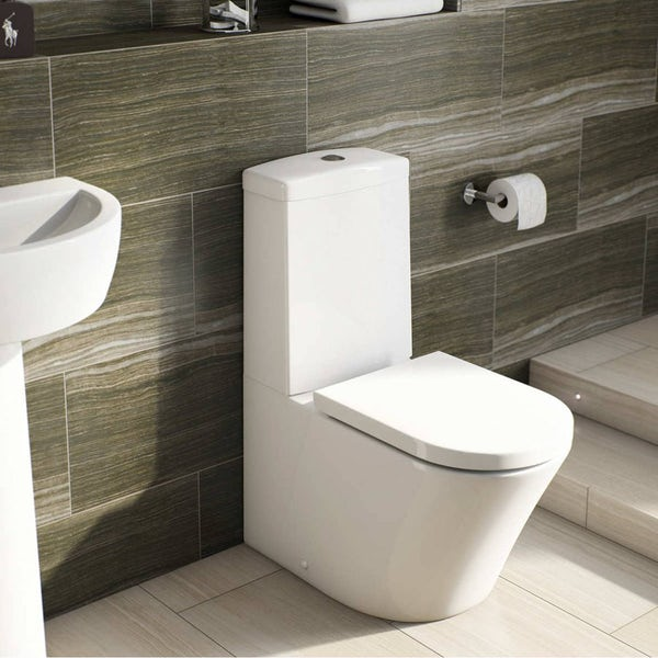 Mode Tate bathroom suite with right handed P shaped shower bath