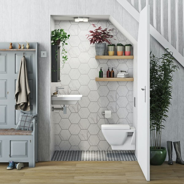 Mode Cooper cloakroom suite with wall hung basin 550mm