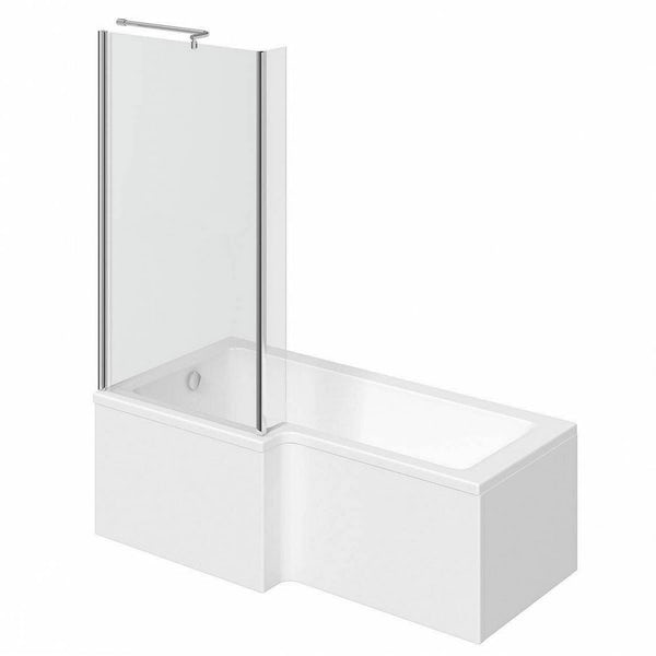 Clarity L shaped left handed shower bath 1500mm with 5mm shower screen