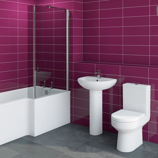 Oakley bathroom suite with right handed Boston L shaped shower bath 1700 x 850