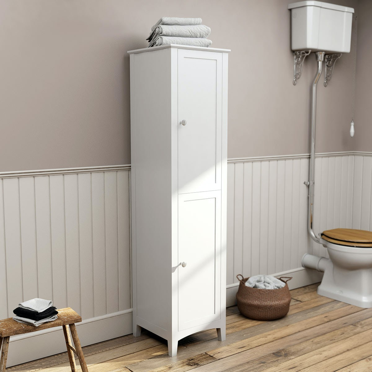The Bath Co. Camberley white tall storage unit