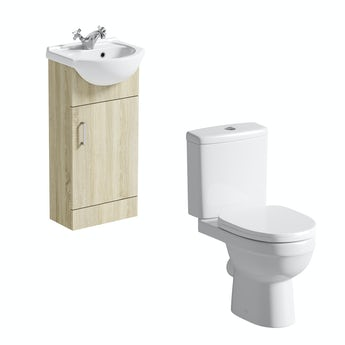 Eden oak cloakroom unit with close coupled toilet