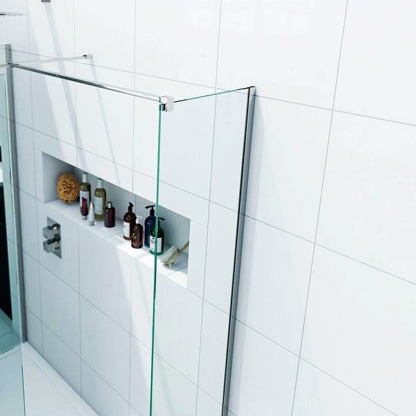 Spacious 8mm Walk in Shower Enclosure Pack with Tray 1400 x 900