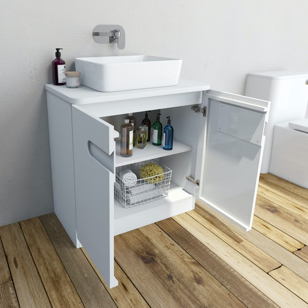 Mode Ellis white vanity door unit and countertop 800mm