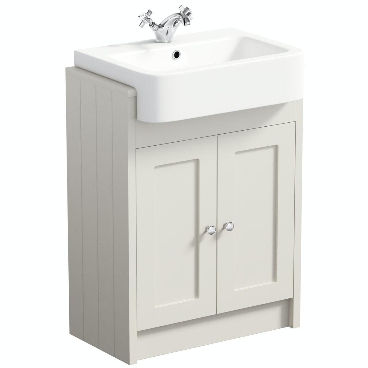 Recessed bathroom sink - New Dulwich Ivory Semi Recessed Vanity