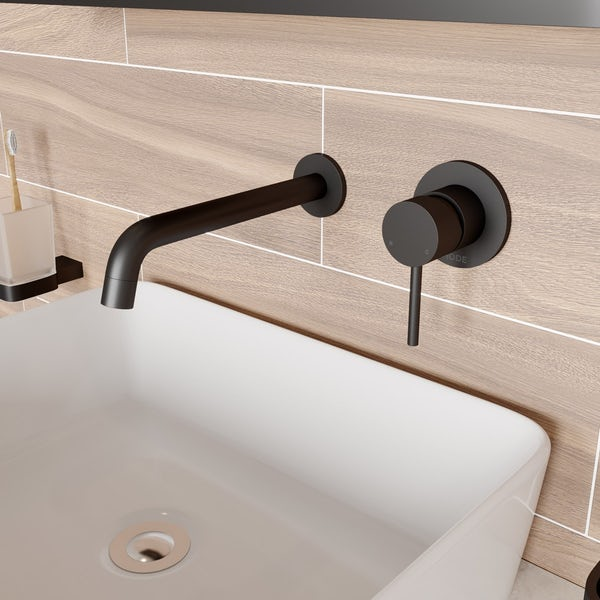 Mode Spencer round wall mounted black basin mixer tap offer pack