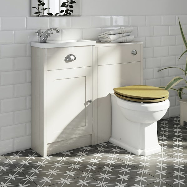 The Bath Co. Dulwich stone ivory cloakroom combination with oak effect seat