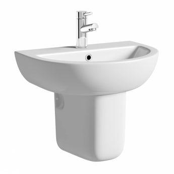 Elena 1 tap hole semi pedestal basin with basin waste
