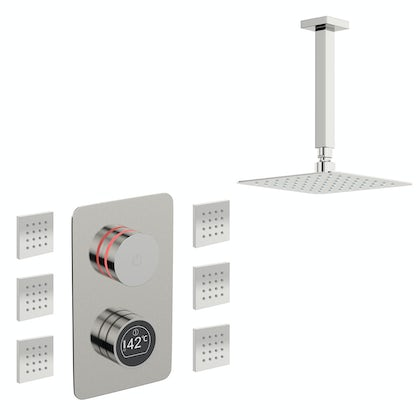 Mode Touch digital thermostatic shower valve with square body jets and shower head set