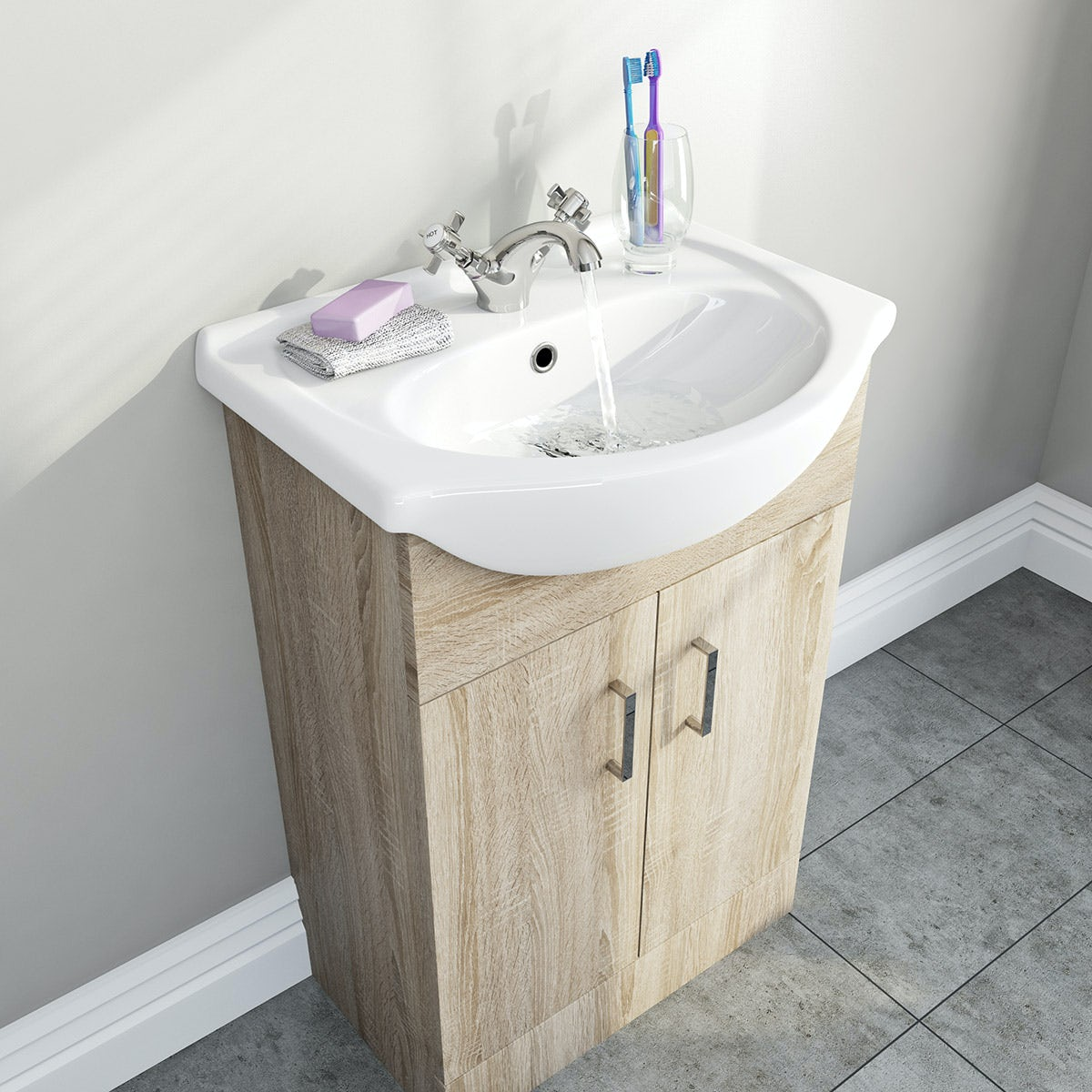 Sienna Oak Vanity Unit And Basin 550mm