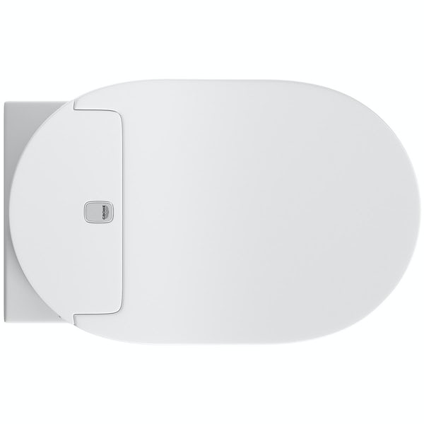 Grohe Sensia Arena smart toilet with soft close seat, rapid SL frame and Nova flush plate