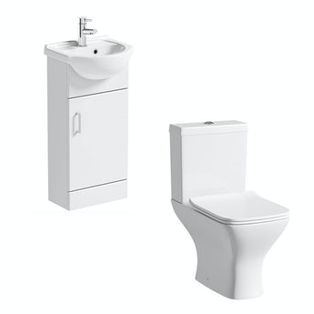 Sienna white cloakroom unit with Compact Square close coupled toilet