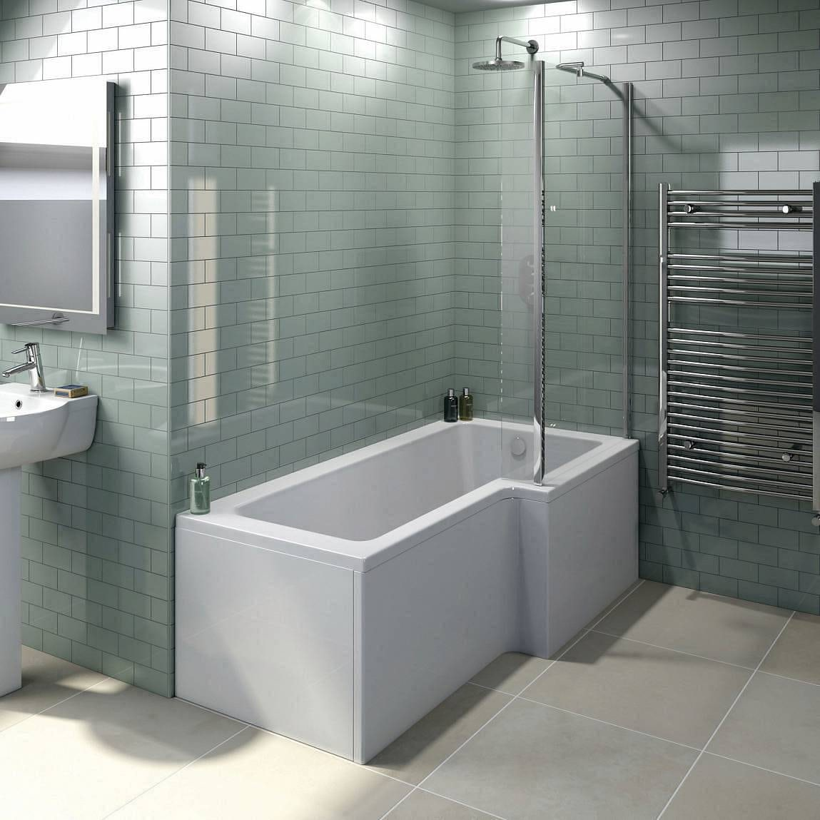 Boston right handed L shaped shower bath 1700mm with 5mm shower screen