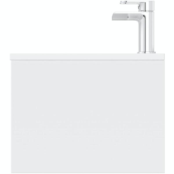 Mode Burton white & rustic oak wall hung double basin vanity unit 1200mm