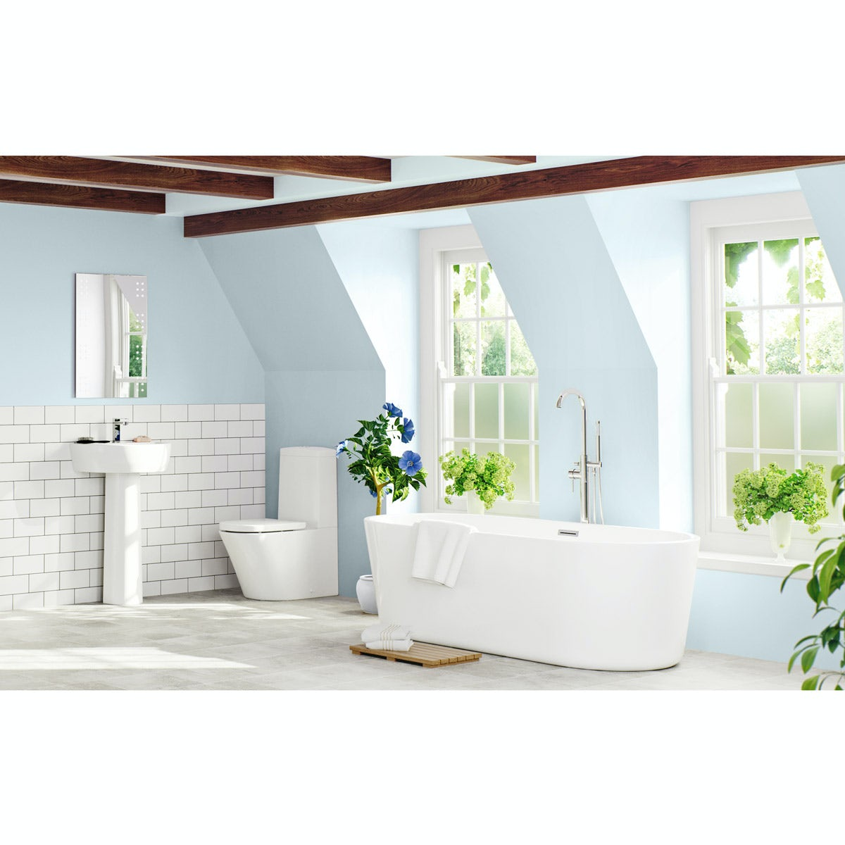 Mode Tate luxury bathroom suite with freestanding bath 1500 x 700