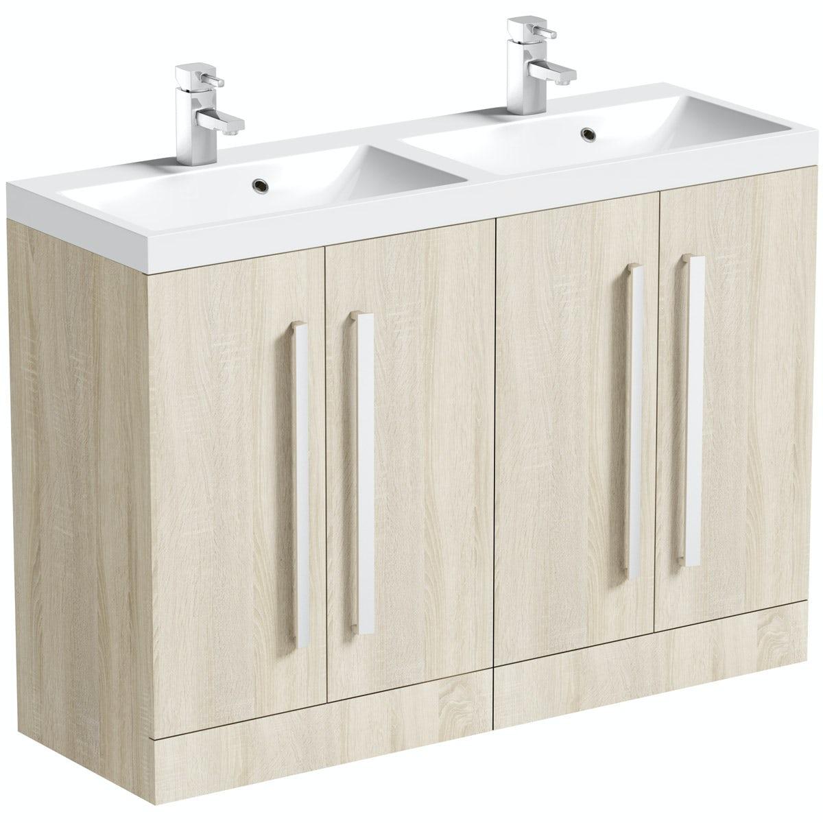 Orchard Wye oak double basin unit 1200mm