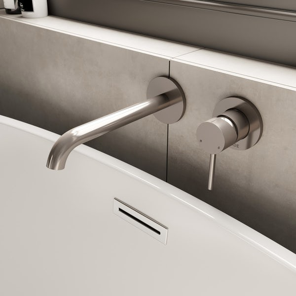 Mode Spencer round wall mounted brushed nickel bath mixer tap offer pack