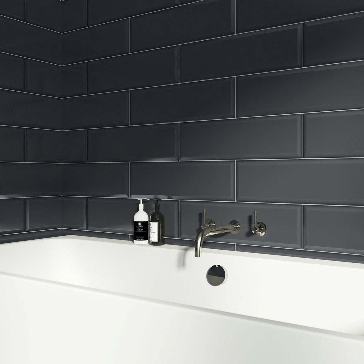 V&A Maxi Metro anthracite grey gloss tile 148mm x 498mm