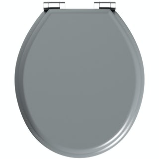 The Bath Co. grey soft close wooden toilet seat