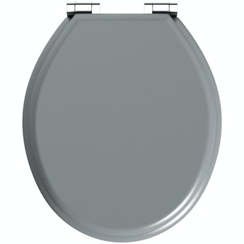 The Bath Co. satin grey soft close wooden toilet seat