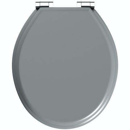 The Bath Co. satin grey soft close wooden toilet seat