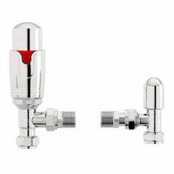 Thermostatic chrome angled radiator valves