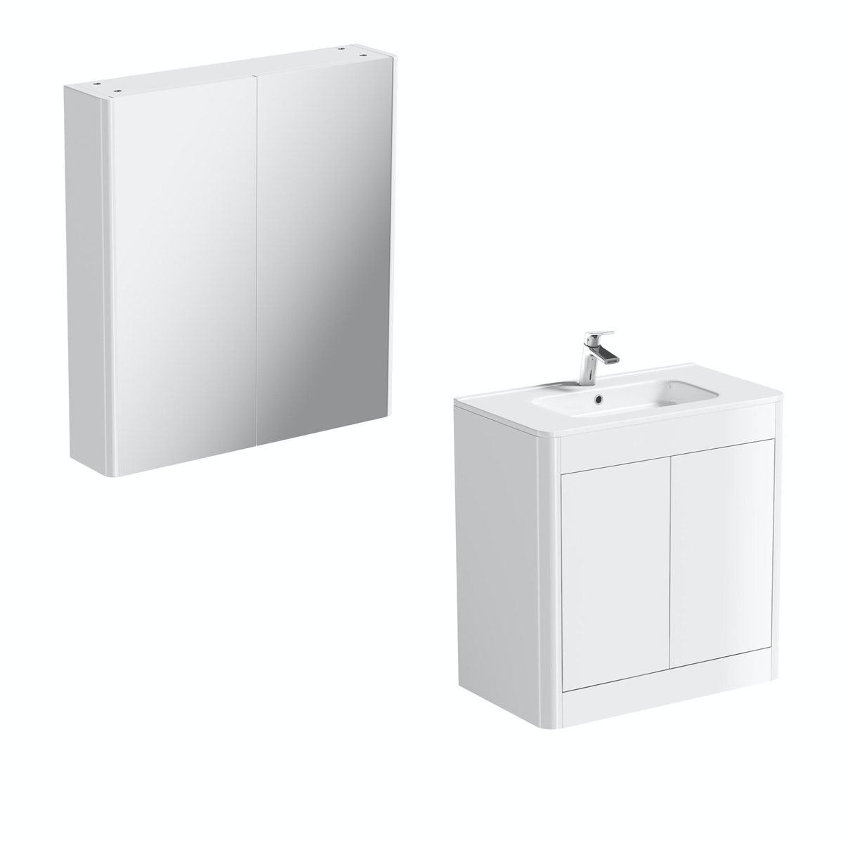 Mode Carter ice white vanity unit 800mm and mirror