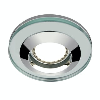 Round glass shower light with dimmable bulb in warm white