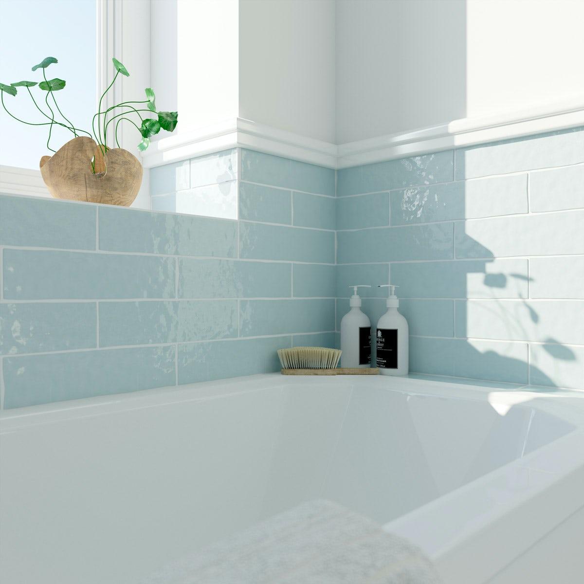 Laura Ashley Artisan duck egg blue gloss wall tile 75mm x 300mm