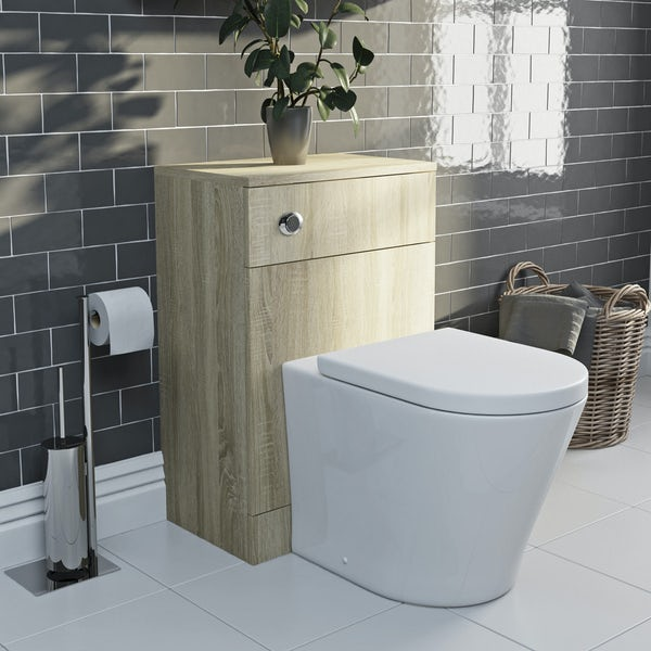 Eden oak back to wall unit with Mode Arte toilet