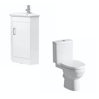 Compact White Corner Unit with Energy Toilet