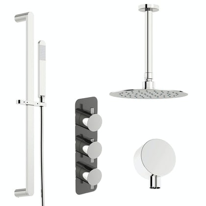 Mode Heath thermostatic shower valve with slider rail and ceiling shower set