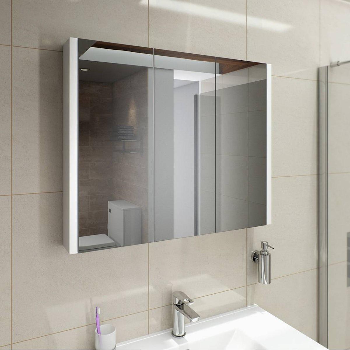 Odessa White 3 Door Mirror Cabinet Click To Zoom