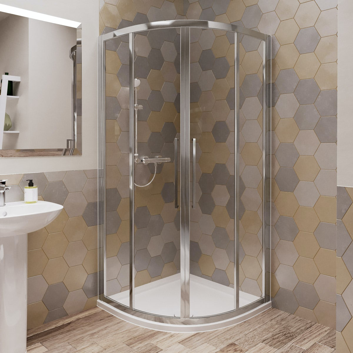 Ideal Standard 6mm sliding Idealclean quadrant shower enclosure with tray and waste