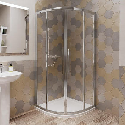 Ideal Standard 6mm sliding Idealclean quadrant shower enclosure with tray and waste 900 x 900