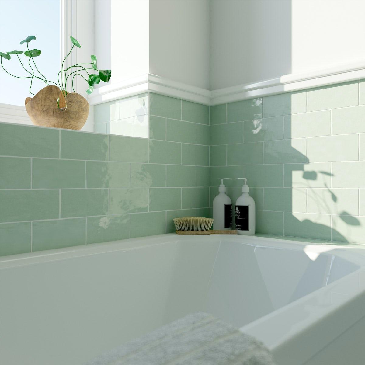 Laura Ashley Artisan eau de nil green wall tile 75mm x 150mm