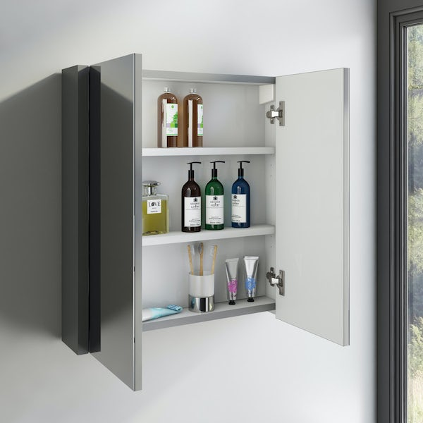 Orchard Derwent grey 2 door mirror cabinet 600mm