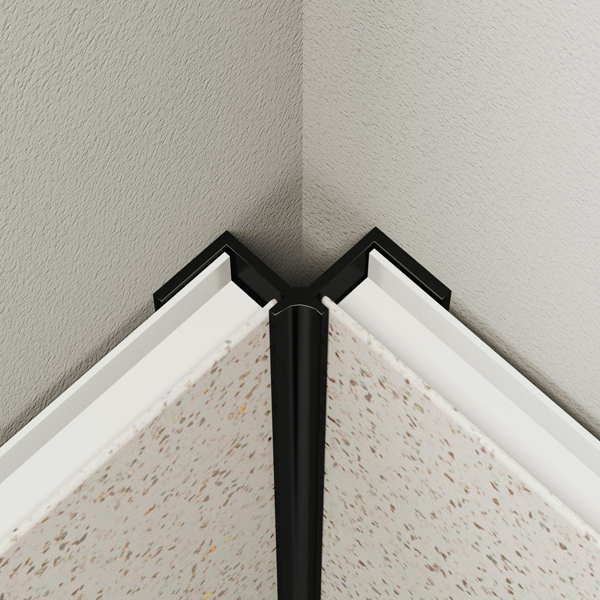 Multipanel Economy type V black internal corner profile